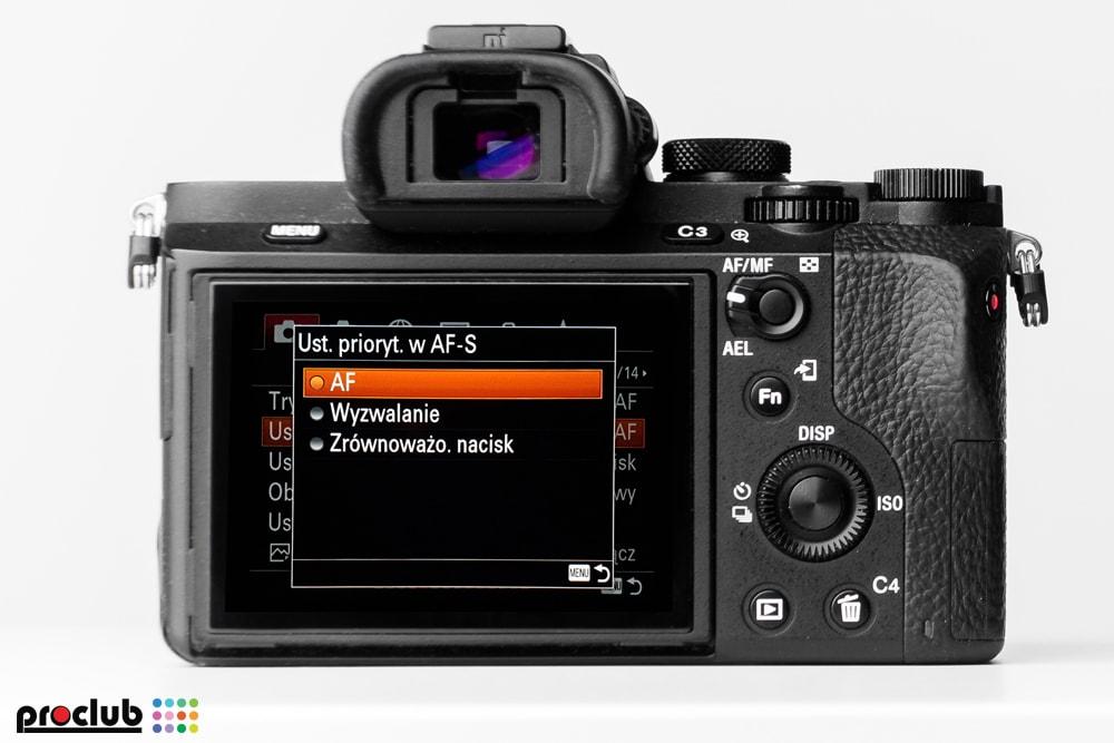 ustawienia aparat Sony