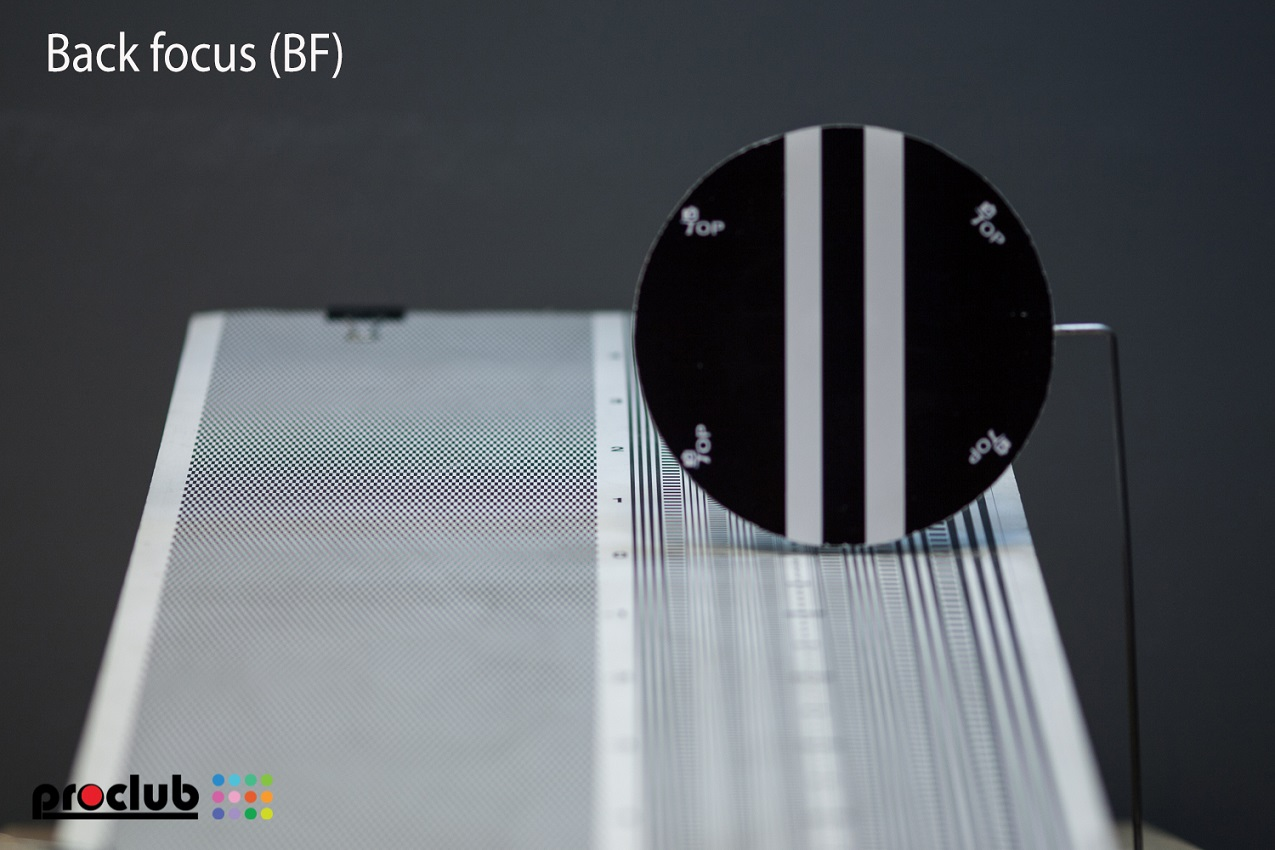 Backfocus (BF) - focus behind the object